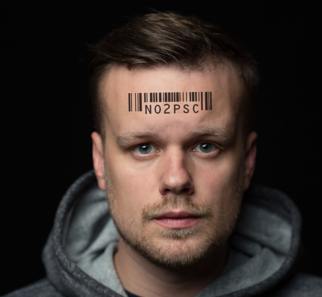 Man with PSC barcode tattoo on forehead